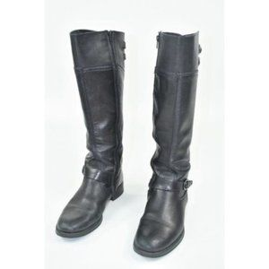 Aldo Leather tall riding boots black leather strap
